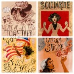 Protest art by Molly Crabapple illustrating critique as a language of the underclass and a form of creativity.